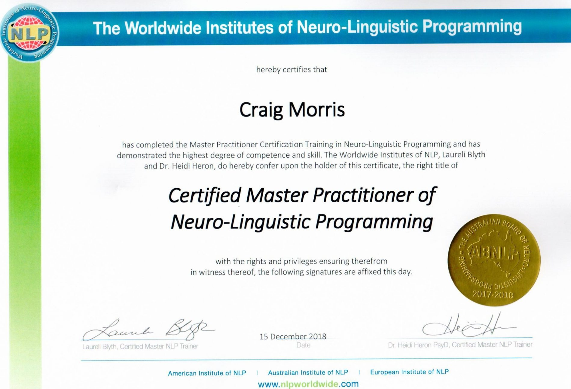 NLP Master Practitioner - Leadership Creativity